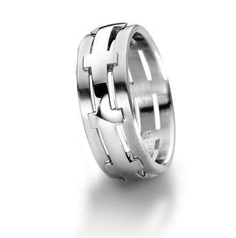 Furrer Jacot Platinum Satin and Polished Finish Cross Design 7.5mm Wedding Ring - Andrew Scott