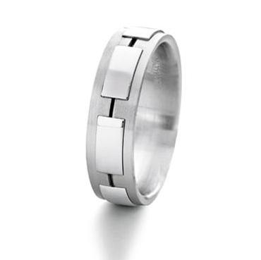 Furrer Jacot 18ct White Gold Satin Finish and Polished Rectangle Detail 6.00mm Wedding Ring - Andrew Scott