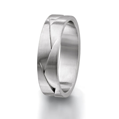 Furrer Jacot 18ct White Gold Satin Pleat Design 6.00mm Wedding Ring - Andrew Scott