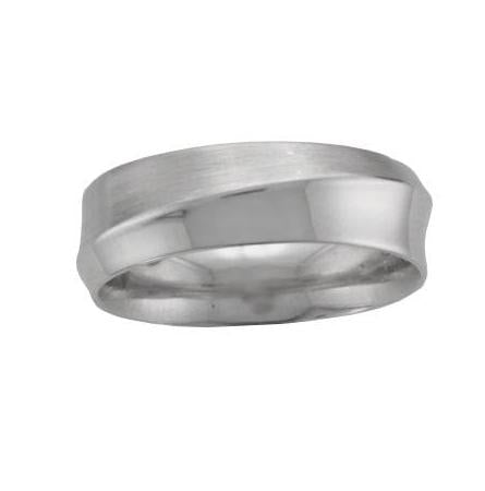 Palladium Satin and Polished Finish Wave 7.00mm Wedding Ring - Andrew Scott