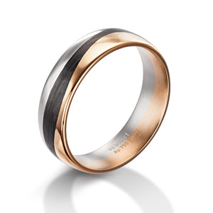 Furrer Jacot Palladium, 18ct Rose Gold and Carbon Fibre Wave Design Ring - Andrew Scott