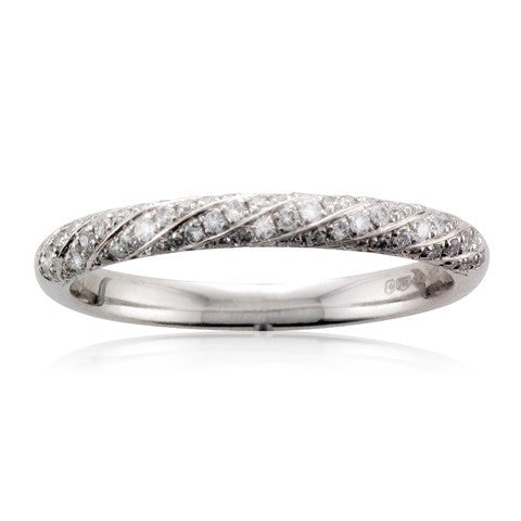 Platinum Spiral Pave Diamond Wedding Ring - Andrew Scott