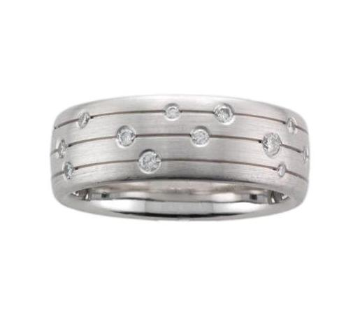 18ct White Gold Incised Line Diamond Scatter Ring - Andrew Scott