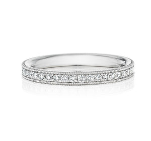Platinum Pave-set Diamond Millgrain Edges Half Eternity Ring - Andrew Scott