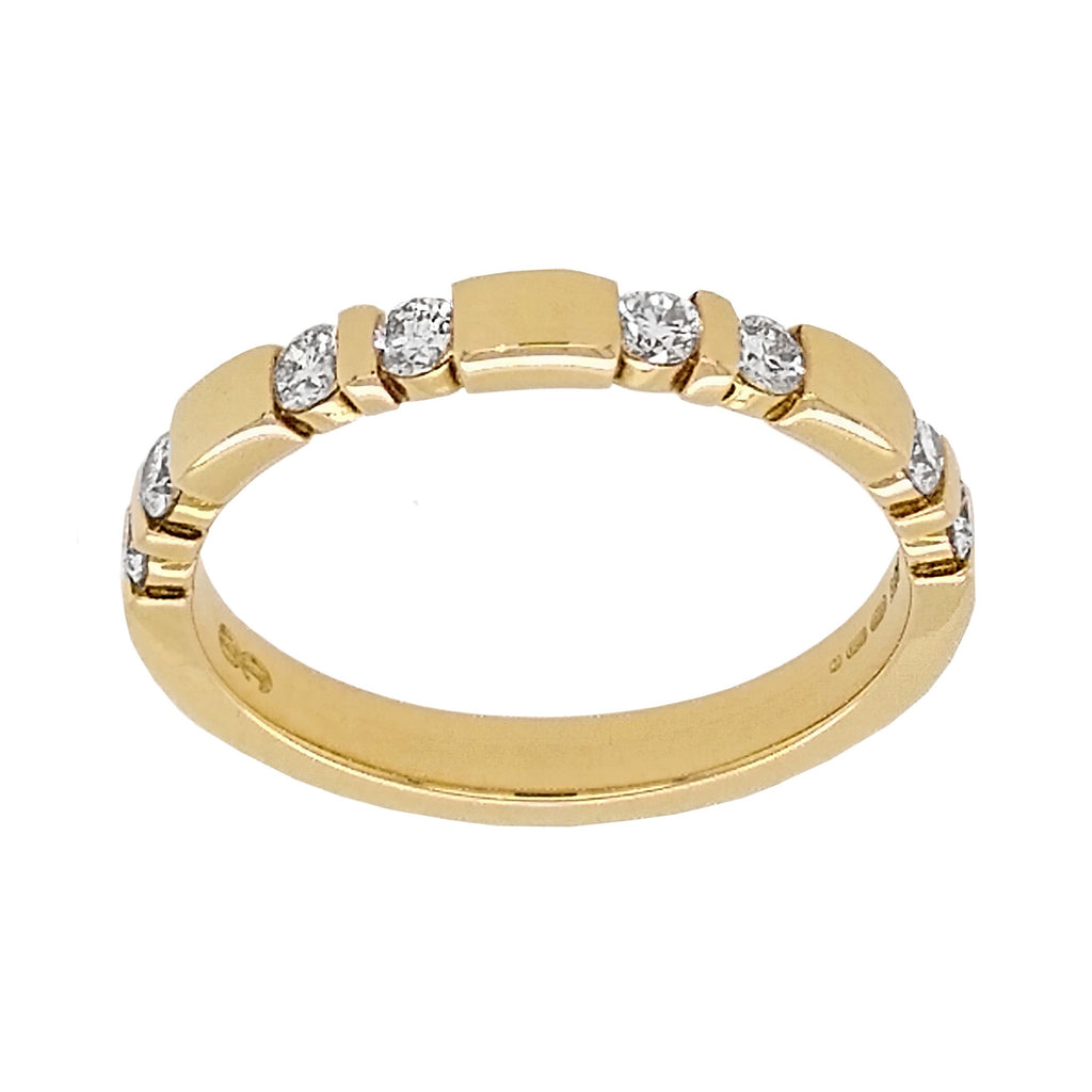 18ct Yellow Gold Diamond Trap-set Half EternityRing