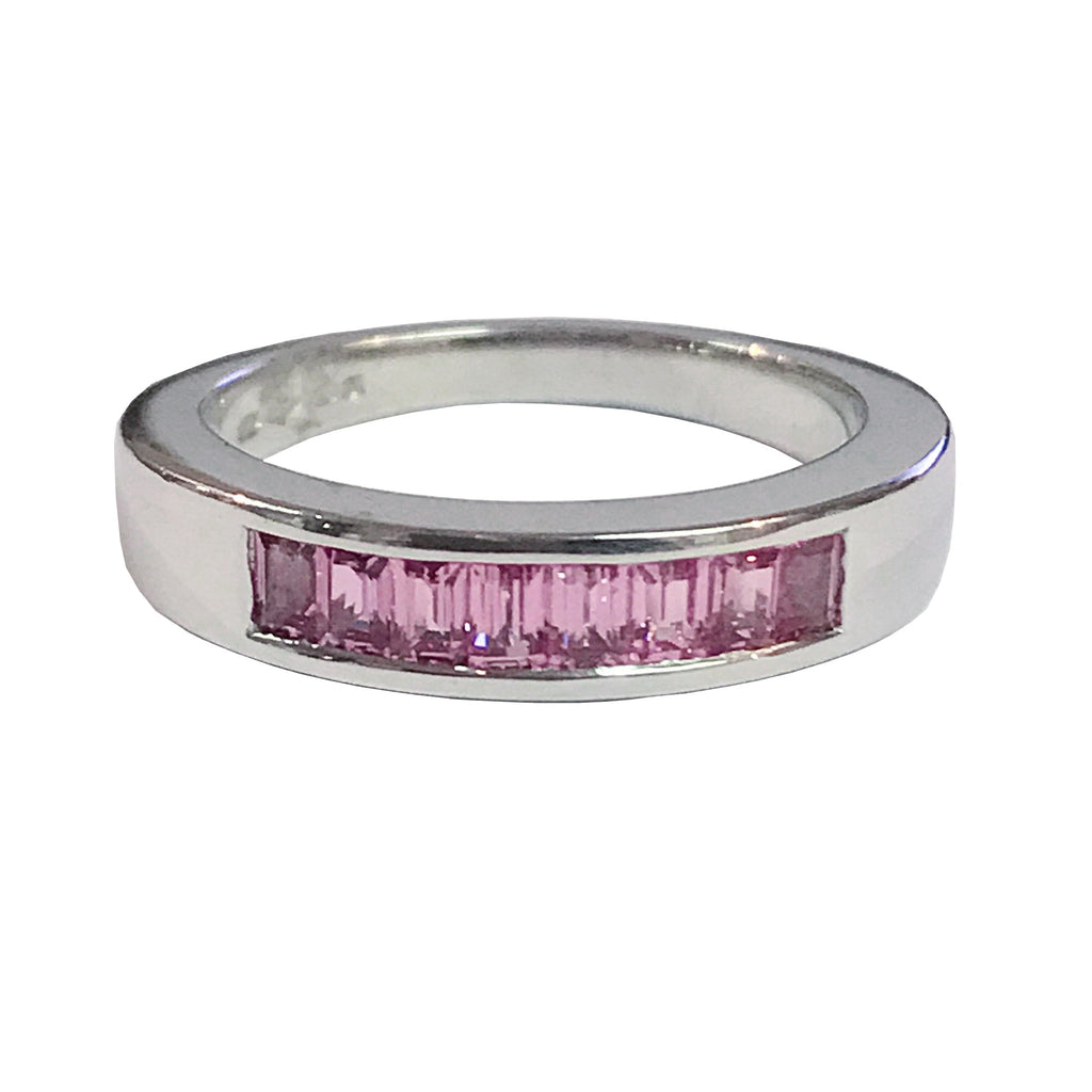 Platinum Channel Set Natural Pink Sapphire Half Eternity Ring - Andrew Scott