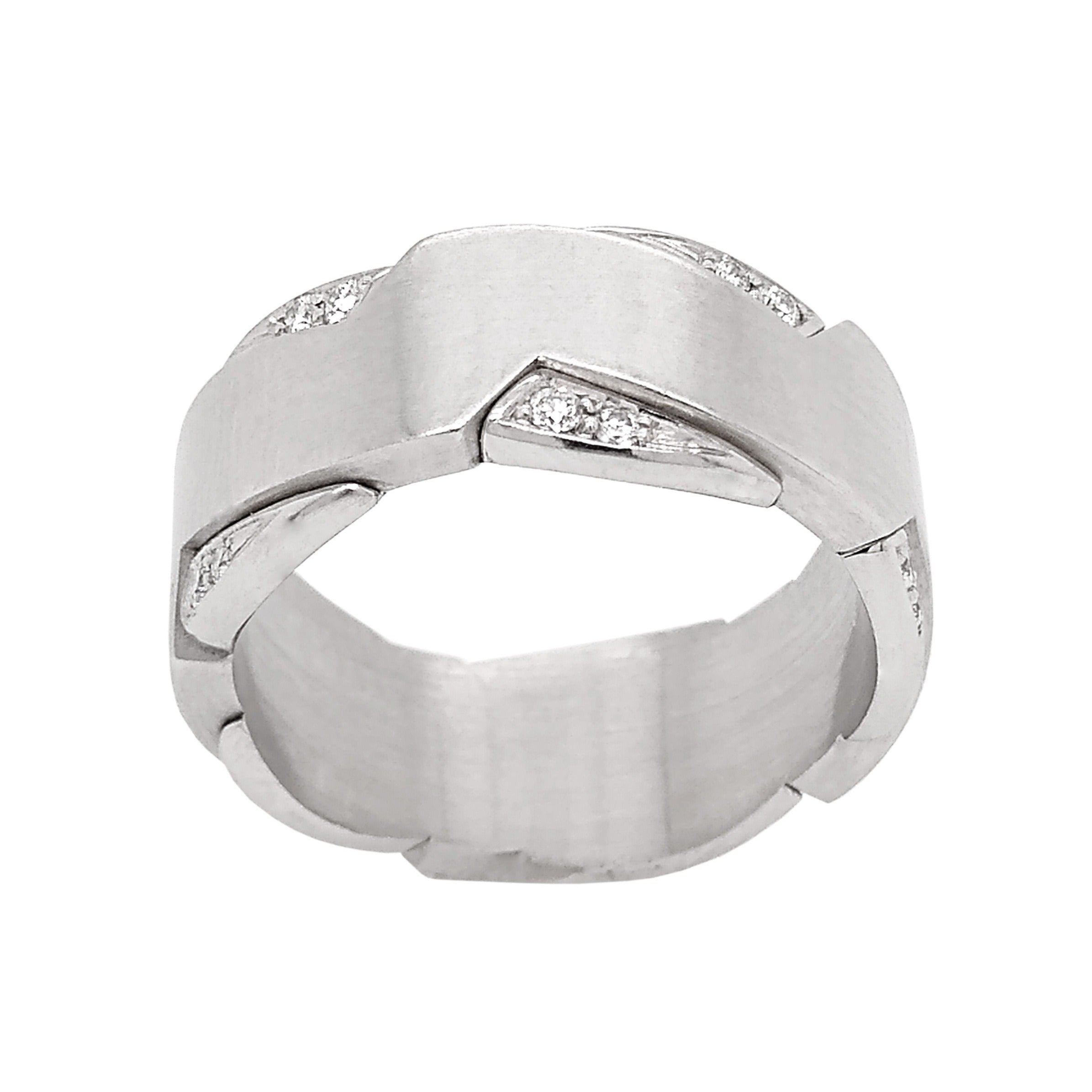 Platinum Zig Zag Diamond Wedding Ring