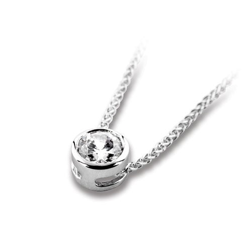 18ct White Gold Brilliant Cut Slider Pendant & Chain - Andrew Scott