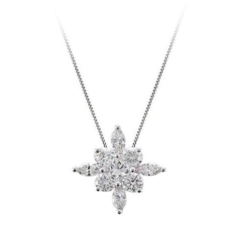 18ct White Gold Diamond Star Pendant & Chain - Andrew Scott