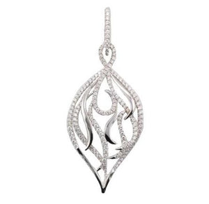 18ct White Gold Pavé-Set Diamond Interlacing Leaf Pendant & Chain - Andrew Scott