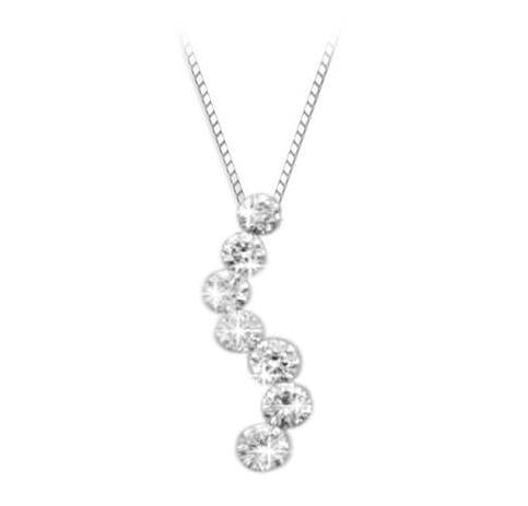 18ct White Gold Diamond S-Shaped Pendant & chain - Andrew Scott