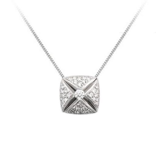 18ct White Gold Soft Square Diamond Pendant & Chain - Andrew Scott
