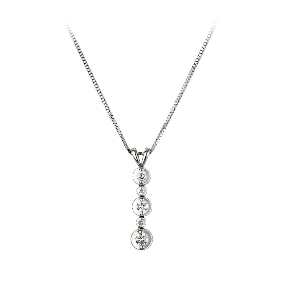 18ct White Gold Graduated Drop Pendant & Chain - Andrew Scott