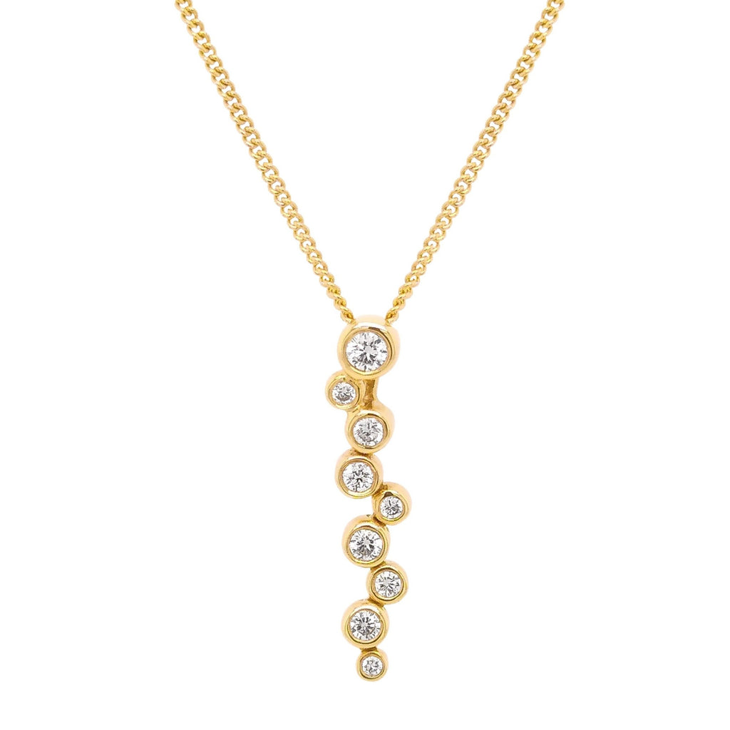 18ct Yellow Gold Scatter Diamond Pendant & Chain