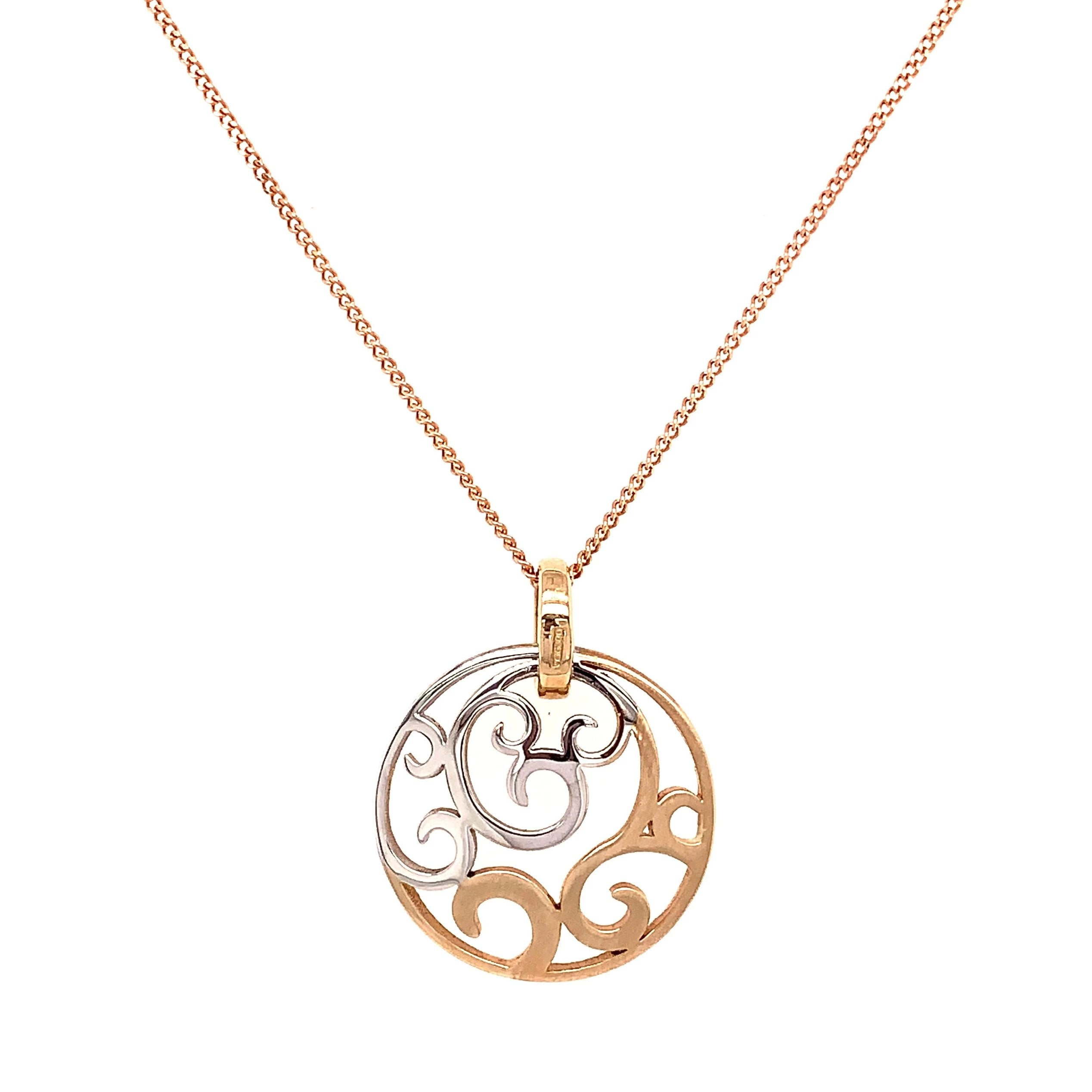 9ct White & Rose Gold Diamond Swirl Pendant & Chain - Andrew Scott