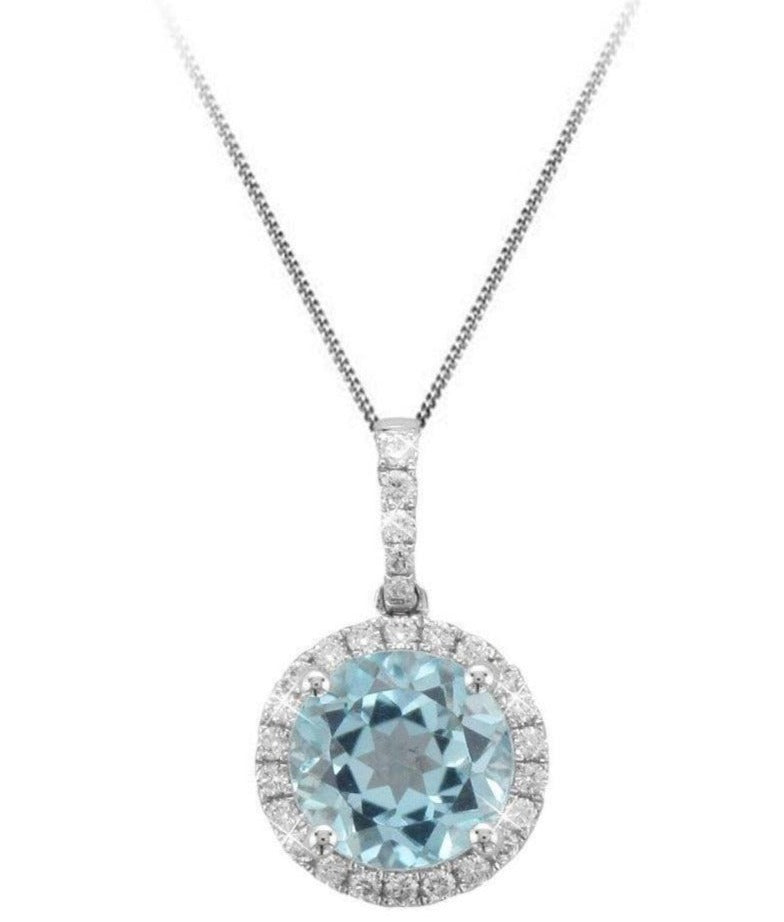 18ct White Gold Blue Topaz & Diamond Pendant and Chain - Andrew Scott