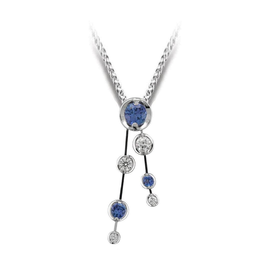 18ct White Gold Tanzanite & Diamond Pendant & Chain - Andrew Scott