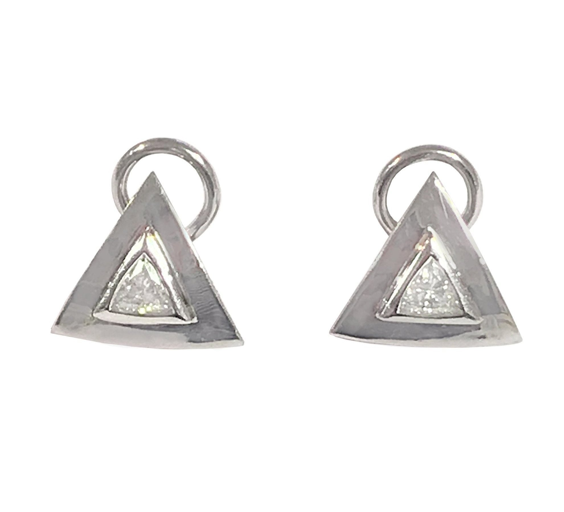 18ct White Gold Diamond Triangular Leaverback Earrings - Andrew Scott