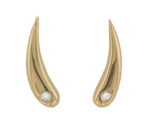 18ct Yellow Gold Long Teardrop Brilliant-cut Diamond Stud Earrings - Andrew Scott