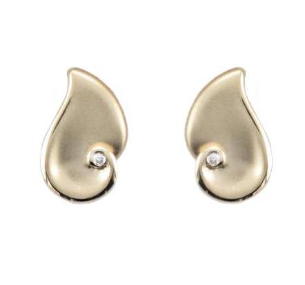 9ct Yellow Gold Matte Finish Diamond Stud Earrings - Andrew Scott