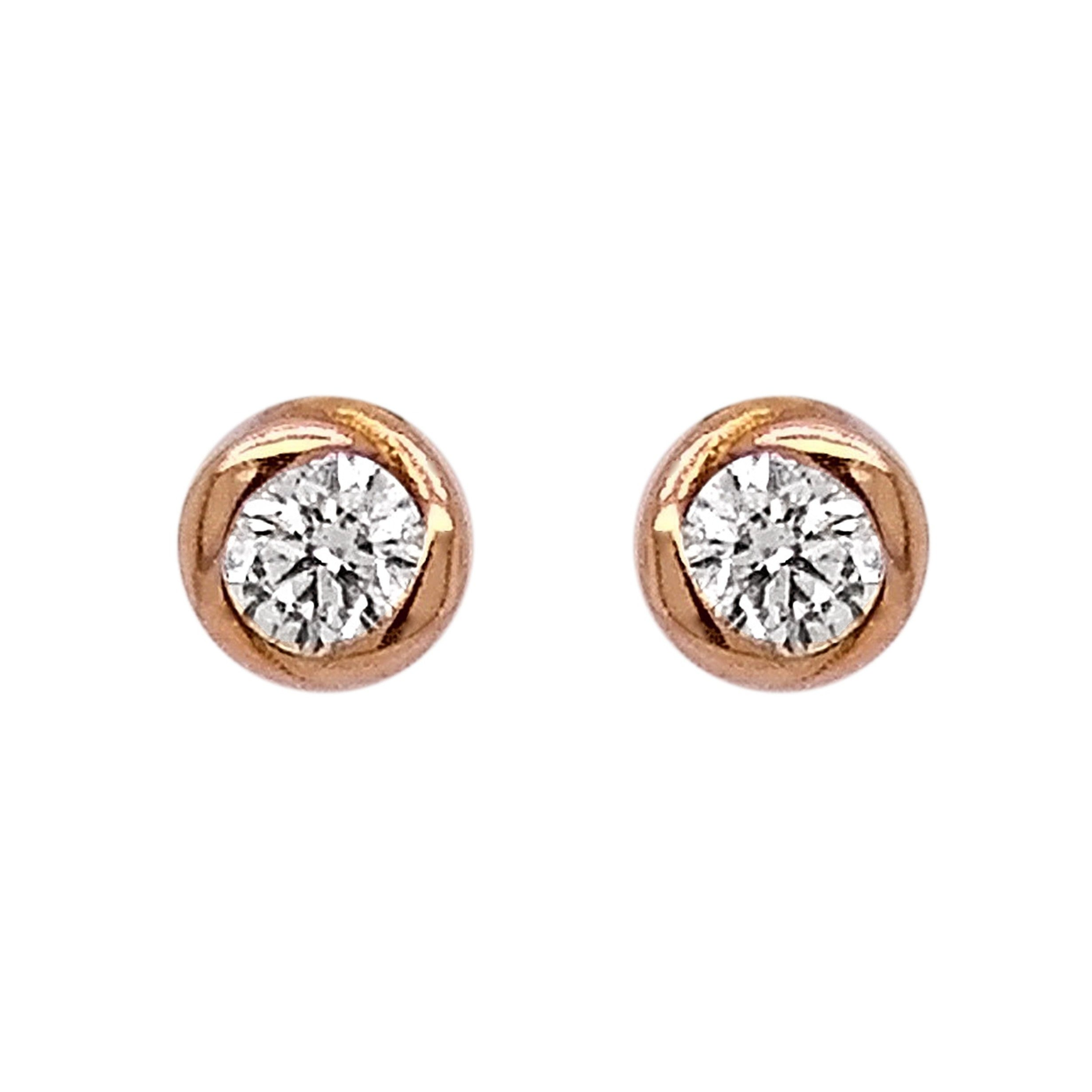 18ct Rose & White Gold Diamond Rosebud Stud Earrings