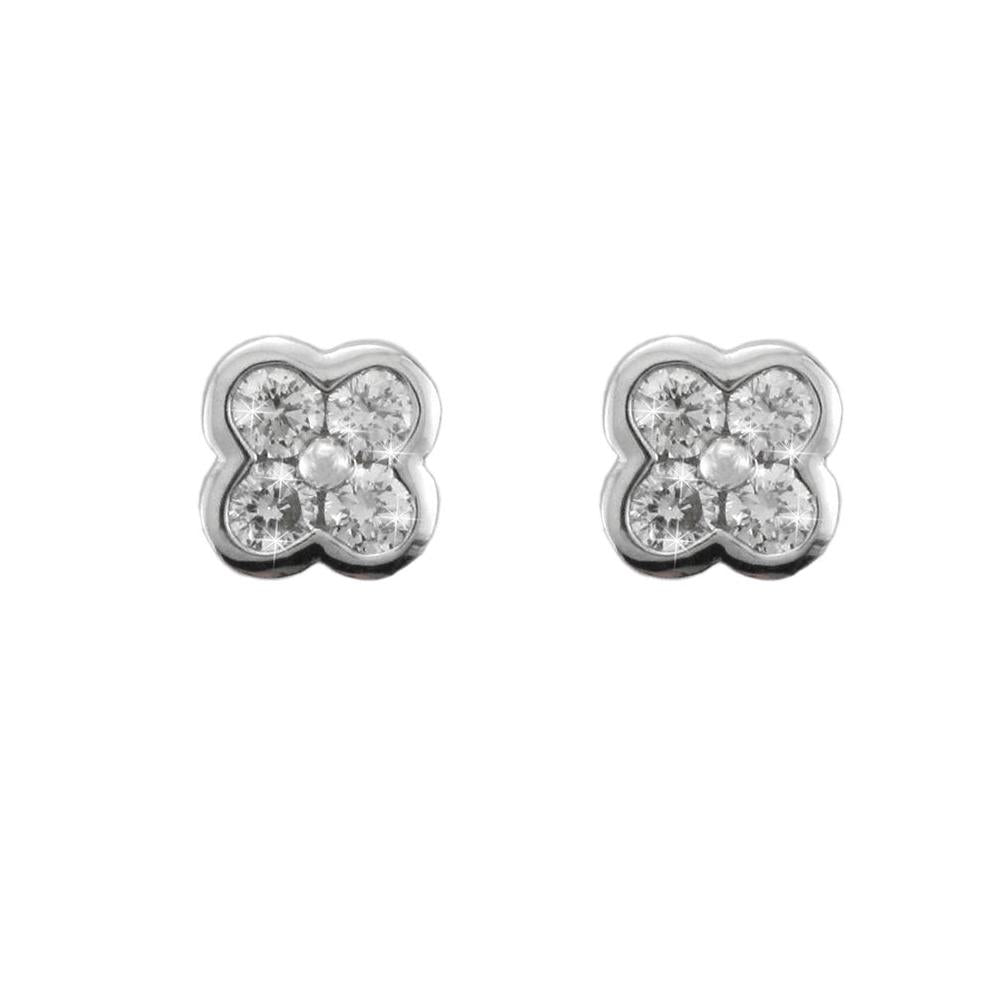 18ct White Gold Flower Diamond Earrings - Andrew Scott