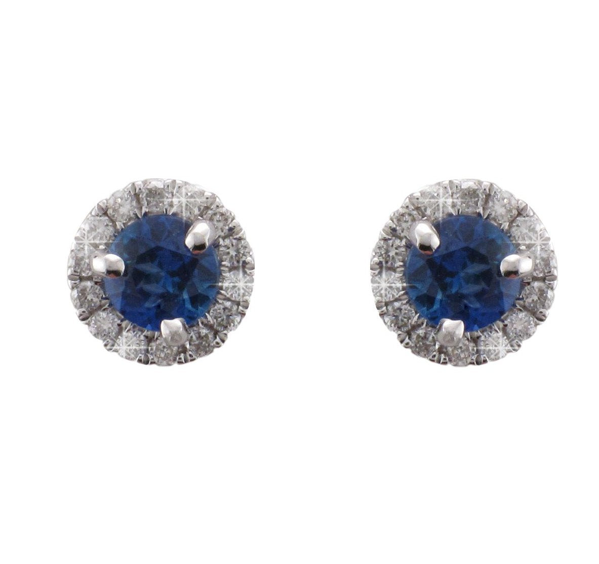18ct White Gold Sapphire & Diamond Earrings - Andrew Scott