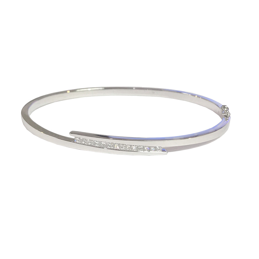 18ct White Gold Diamond Crossover Bangle - Andrew Scott