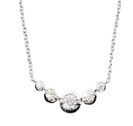 18ct White Gold 5x Brilliant Cut Diamond Necklace - Andrew Scott