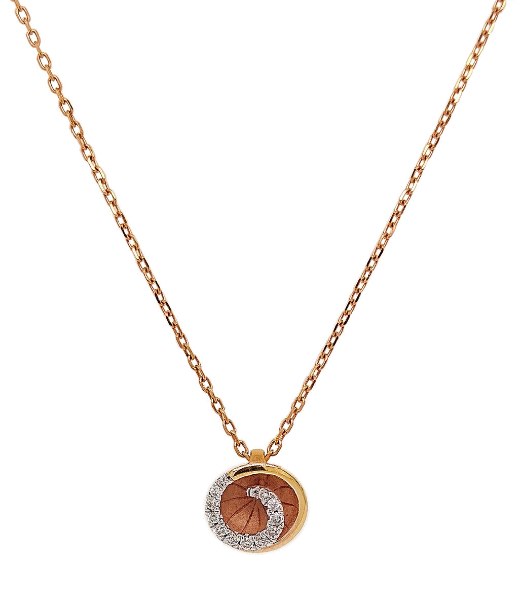 18ct Rose Gold Pave-set Diamond Detail Necklace