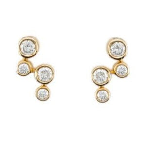 18ct Yellow Gold Diamond Bubble Earrings - Andrew Scott