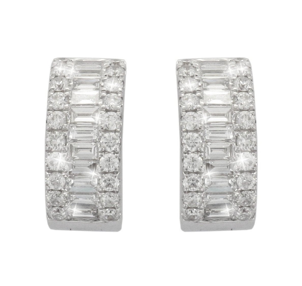 18ct White Gold Baguette & Brilliant-cut Diamond Hoop Earrings - Andrew Scott