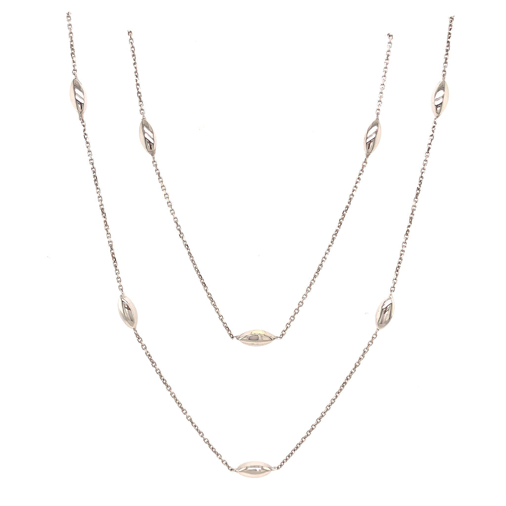 9ct White Gold 2 Row Marquise Bead Necklace - Andrew Scott