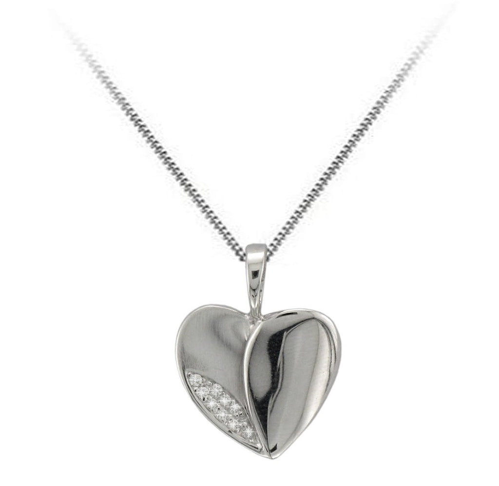 9ct White Gold Diamond Set Heart Necklace - Andrew Scott