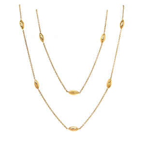 9ct Yellow Gold 2 Row Marquise Bead Necklace - Andrew Scott