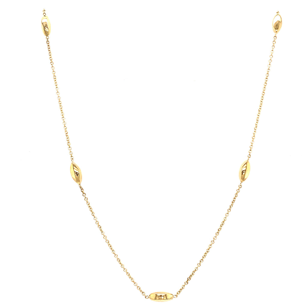 9ct Yellow Gold Marquise Bead Necklace - Andrew Scott
