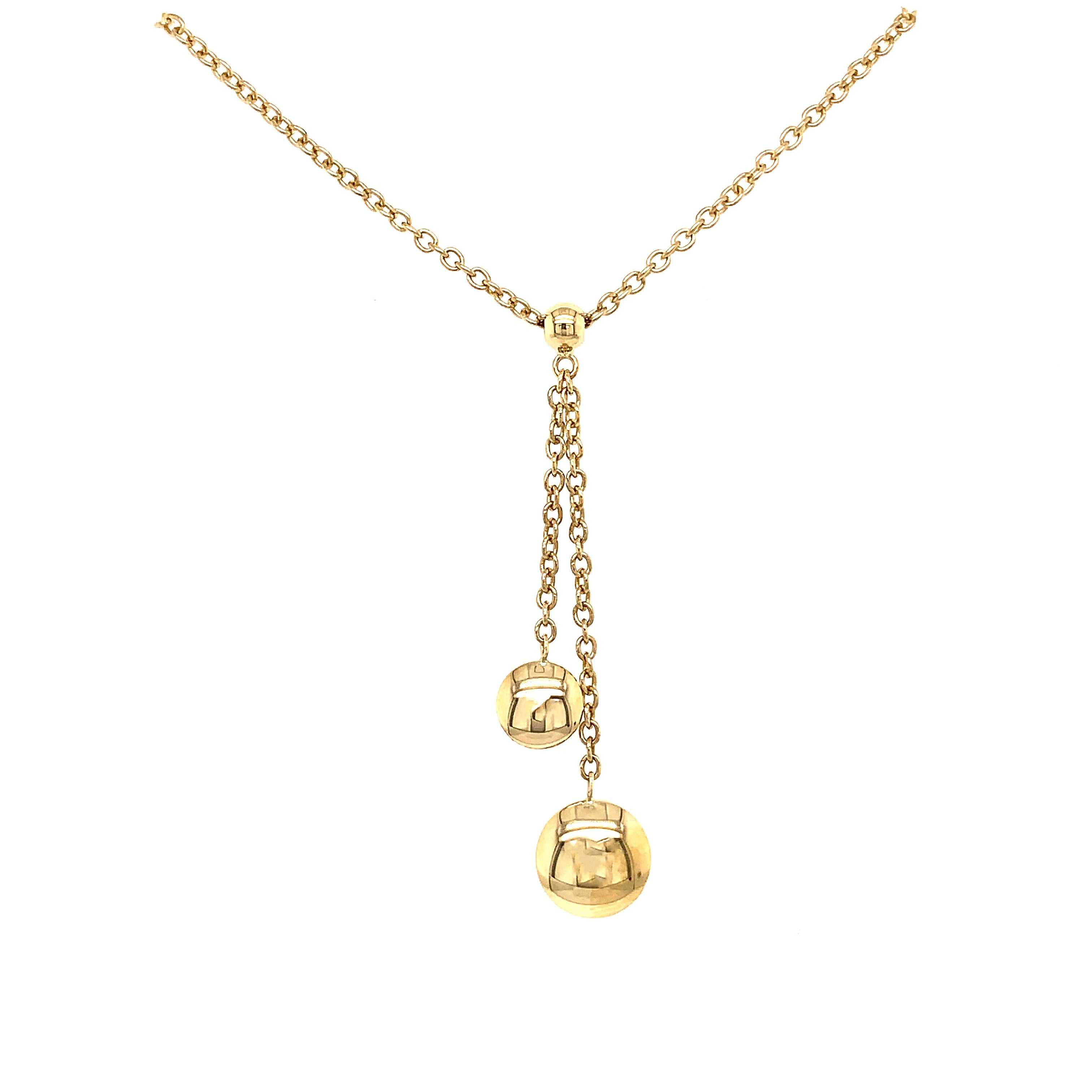 9ct Yellow Gold Polished Bead Drop Necklace - Andrew Scott
