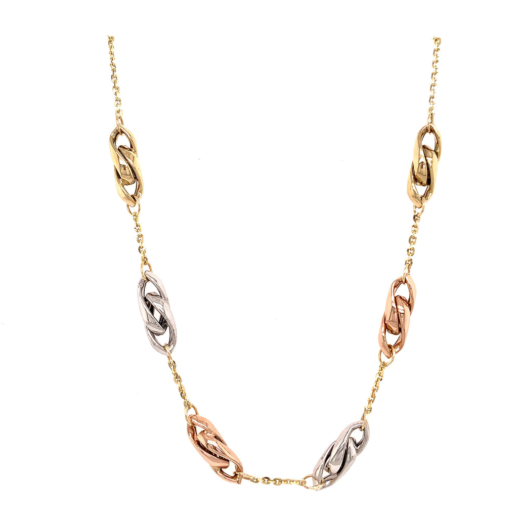 9ct Tri-Colour Chain Linked Chain Necklace - Andrew Scott