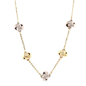 9ct Yellow & White Gold Knot & Chain Necklace - Andrew Scott