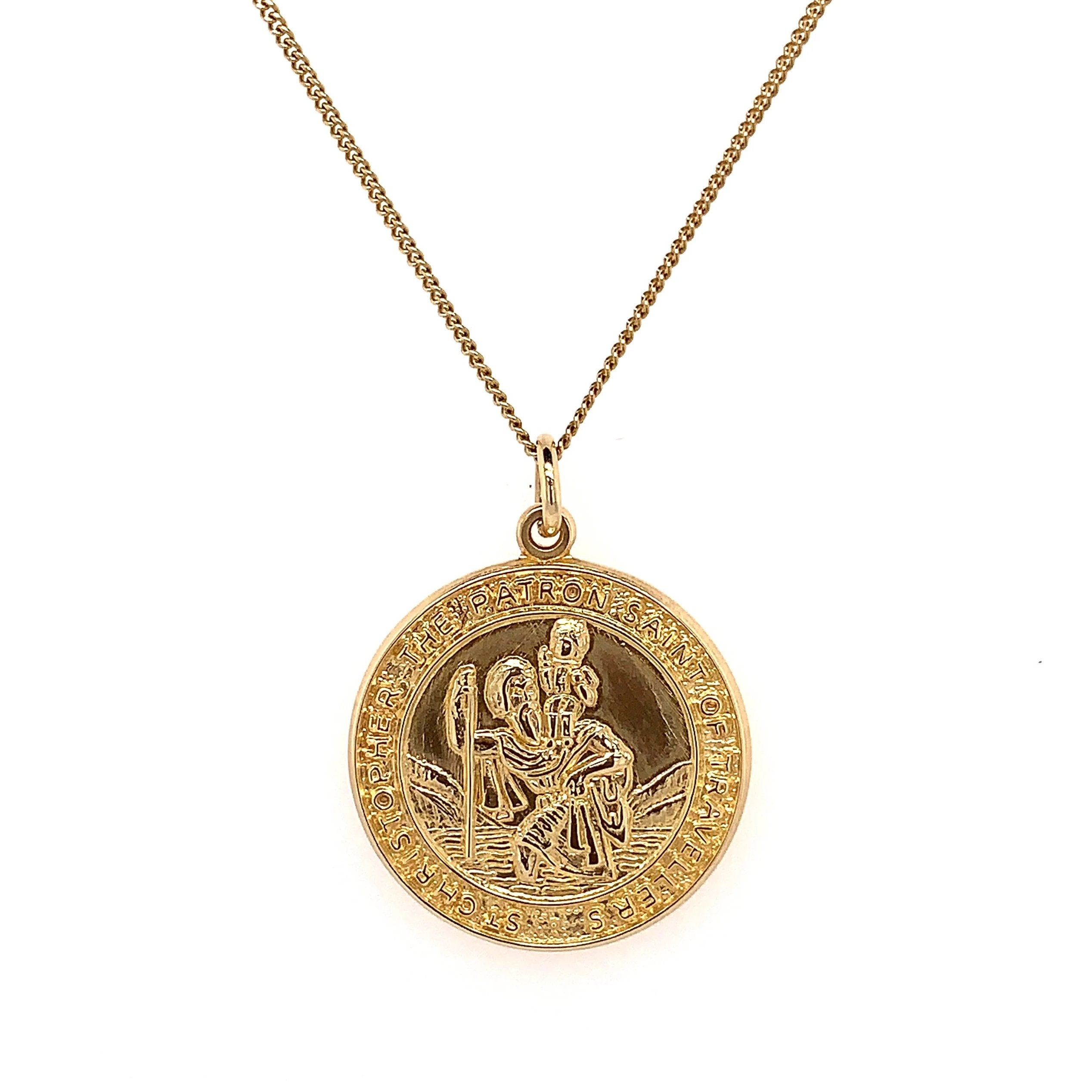 9ct Yellow Gold St Christopher & Chain - Andrew Scott