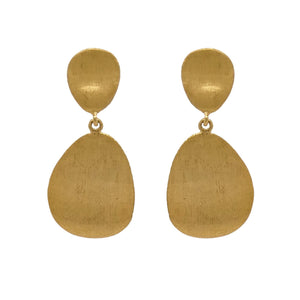 9ct Yellow Gold Textured Oval Drop Earrings