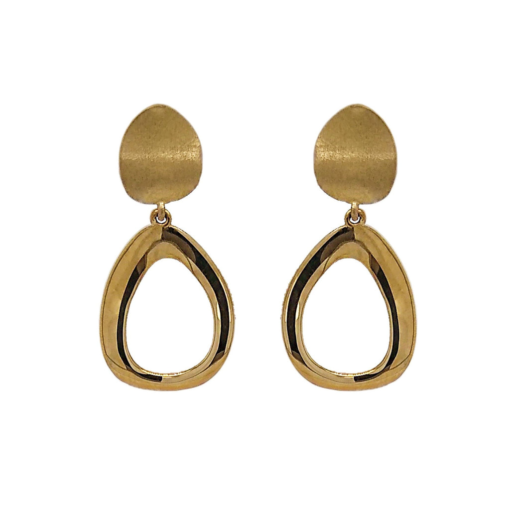 9ct Yellow Gold Open Oval Drop Earrings