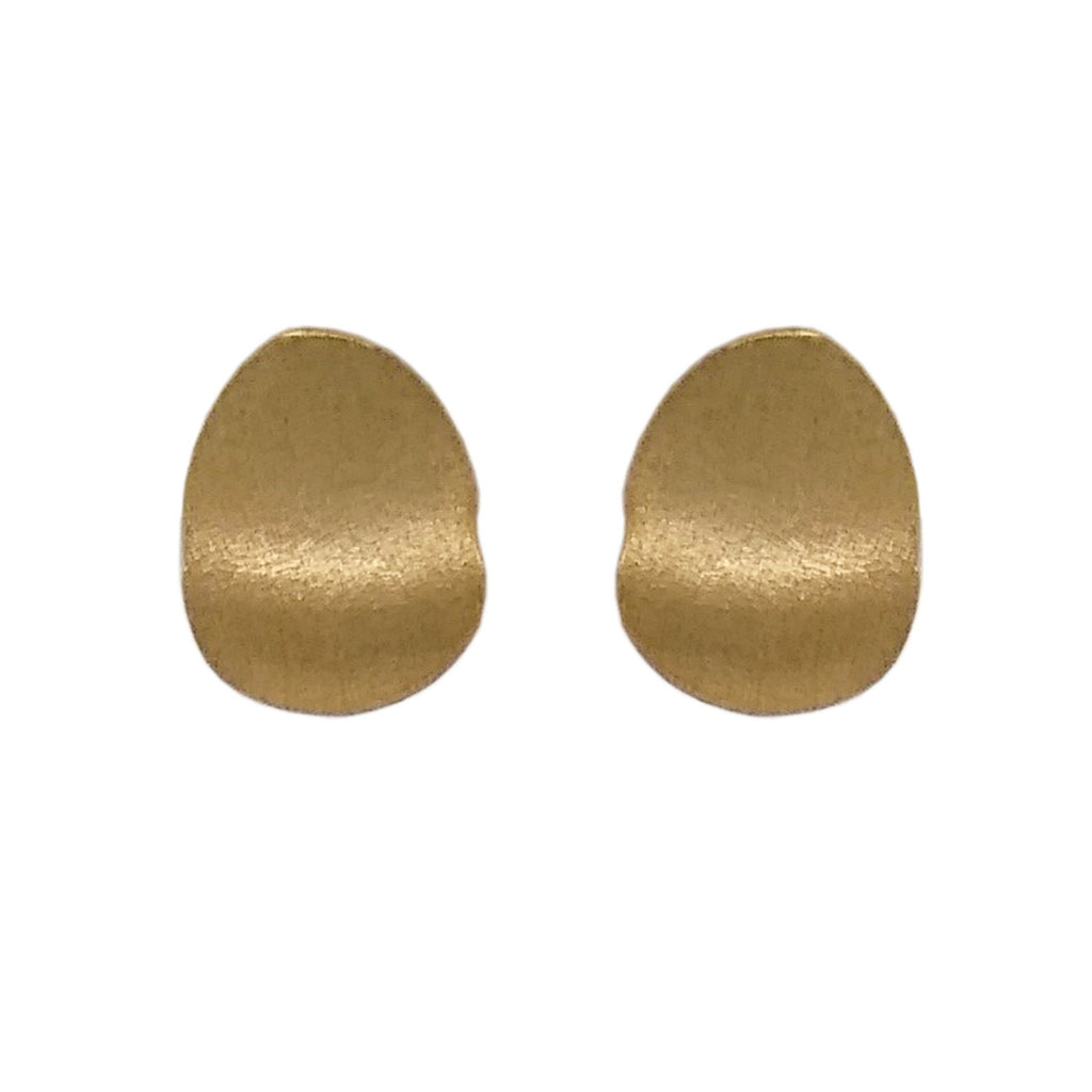 9ct Yellow Gold Flat Wavy Oval Stud Earrings