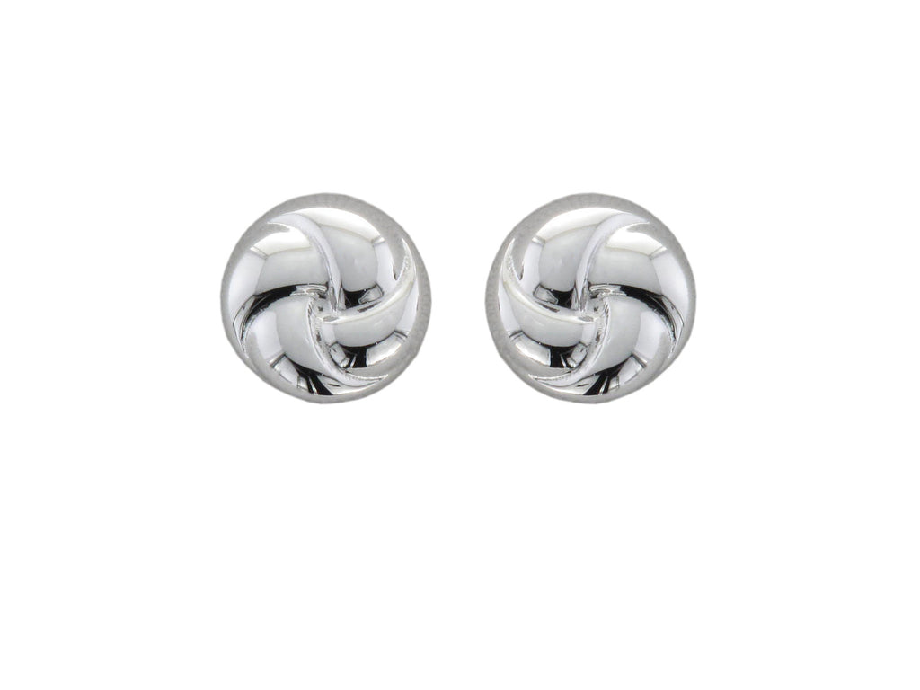 9ct White Gold Knot Stud Earrings - Andrew Scott