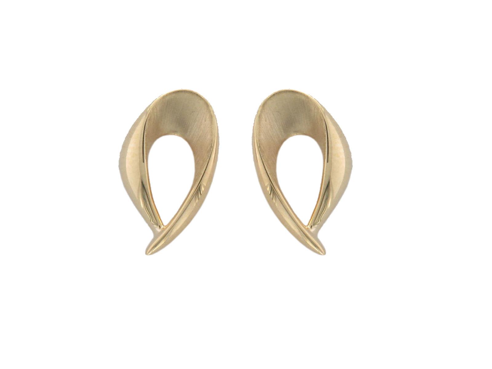 9ct Yellow Gold Teardrop Stud Earrings - Andrew Scott