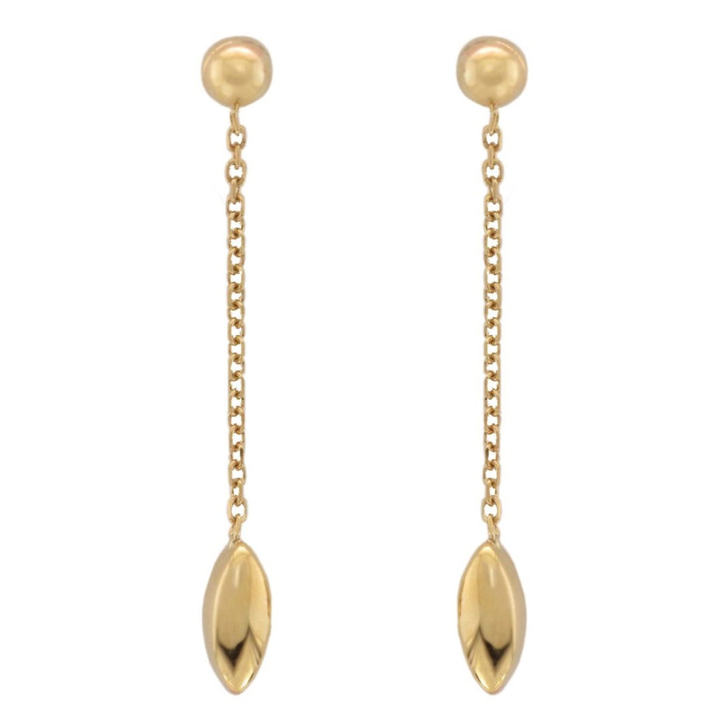 9ct Yellow Gold Chain Drop Marquise Bead Earrings - Andrew Scott