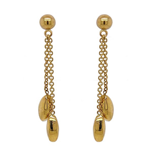 9ct Yellow Gold Marquise 2 Row Drop Earrings