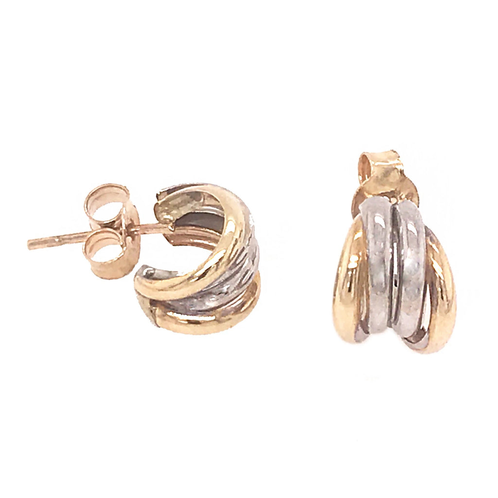 9ct Yellow & White Gold 4 Strand Stud Earrings - Andrew Scott