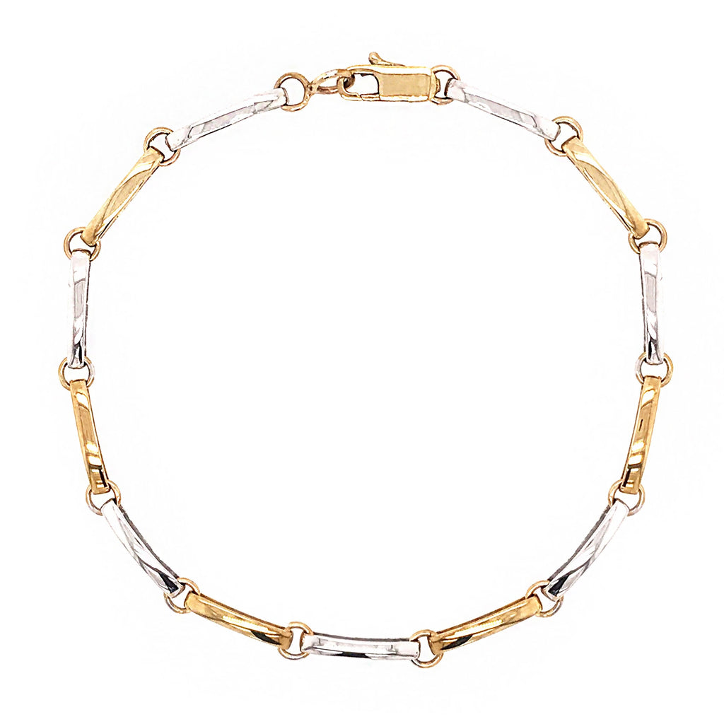 9ct Yellow & White Gold Curve Bar Linked Bracelet - Andrew Scott