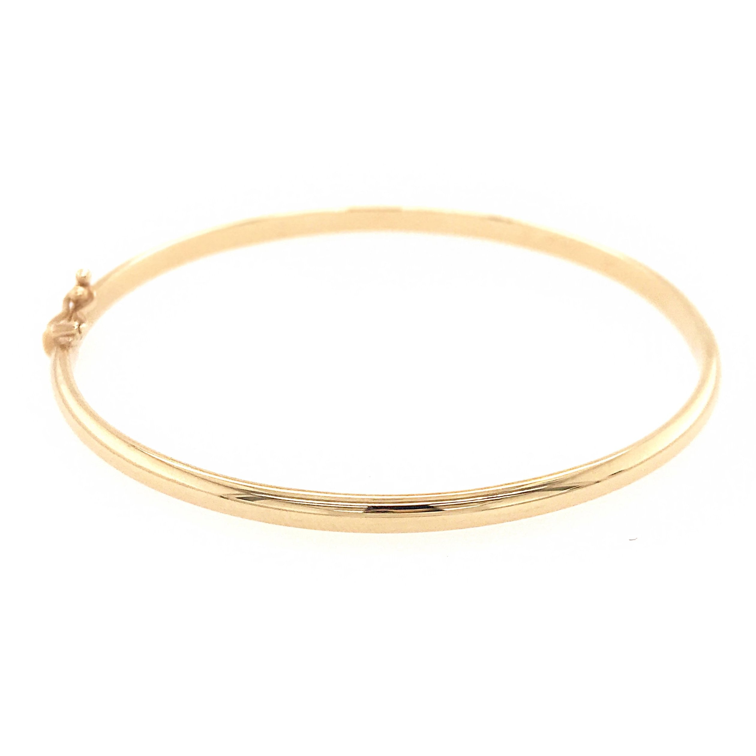 9ct Yellow Gold D-Shaped Hinged Bangle - Andrew Scott